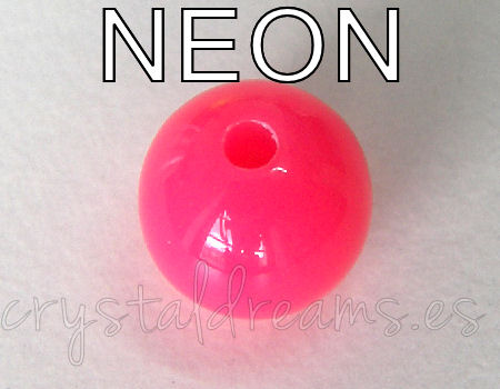 Cuenta NEON color 10mm Agujero: 2mm - Pink