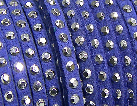 20 cm. Cordon de Antelina con Rivet 3mm color Blue-Silver