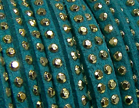 20 cm. Cordon de Antelina con Rivet 3mm color Turquoise-Golden
