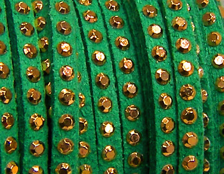 20 cm. Cordon de Antelina con Rivet 3mm color Green-Golden