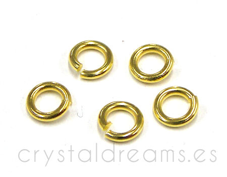 10x Anilla redonda 5mm - 0,8mm espesor - color Golden