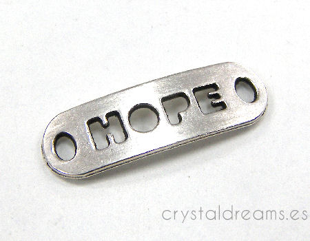 "Chapa de Zamak - 24x8mm - Agujero:2,5mm - ""Hope"""