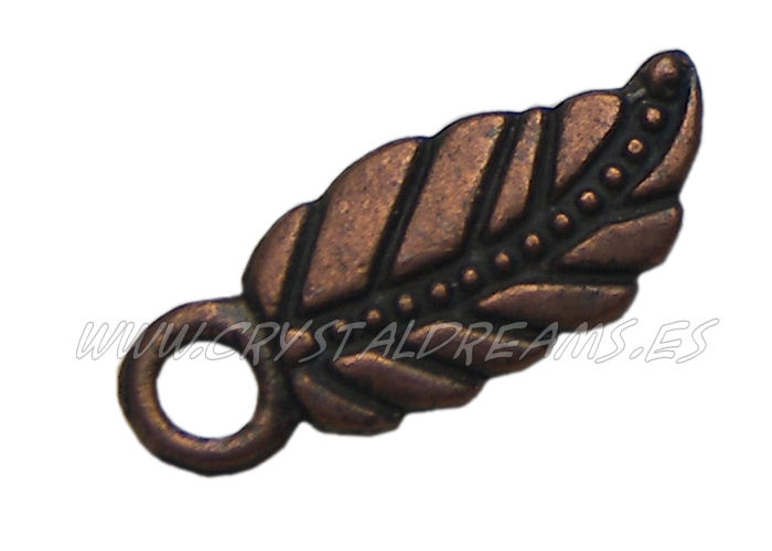 Cuenta de metal - mod. Copper Feather - 7x17mm - Agijero: 2mm