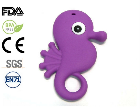 Silicone antibacterial Teether - 85mm Seahorse PURPLE