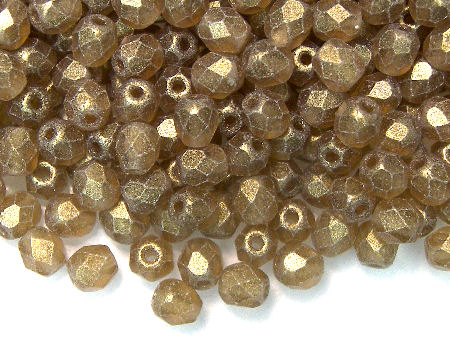 Facetadas 4mm SUEDED GOLD SMOKY TOPAZ