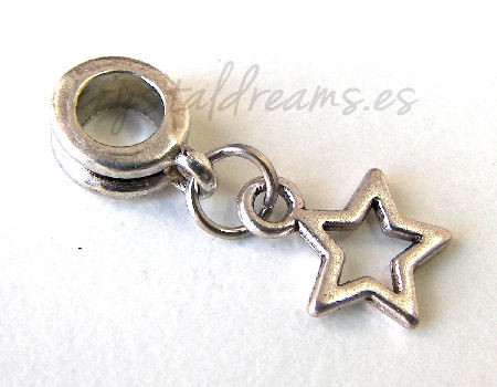 Metal Pendant - Little Star - 25mm - Agujero: 4,5mm