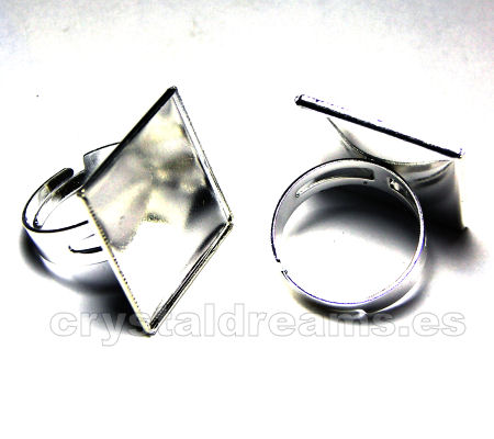 Ring with Squared base - 20x20mm - Silver