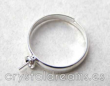 19mm Ring for mounting and setting beads - Silver color