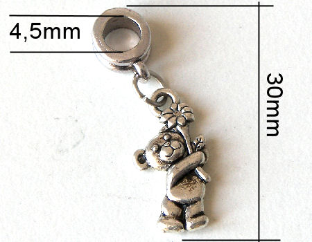 Colgante metal - Bear - 30mm - Hole: 4,5mm
