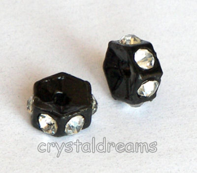 "Distanciadores de metal Negro 5mm ""Crystal rhinestone"""
