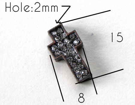 Entrepieza CRUZ Strass 15x8x4mm Agujero 2mm x 1 - BRONZE