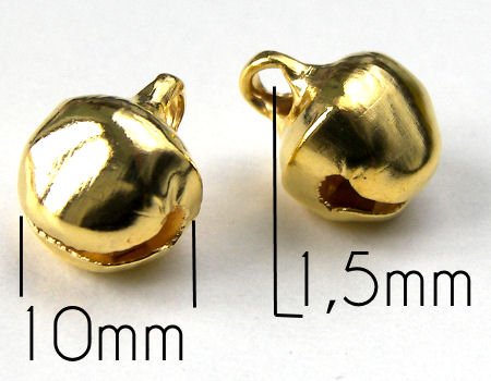 Cascabeles de metal - Golden color - 10mm