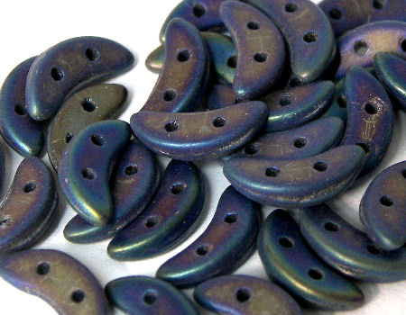 Crescent Beads 10x3mm 5gr. by Czechmates® Blue Iris Mate