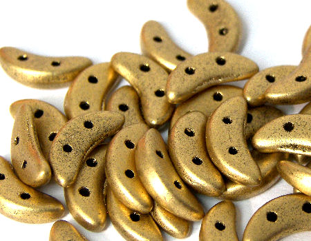 Crescent Beads 10x3mm 5gr. by Czechmates® Gold Mate