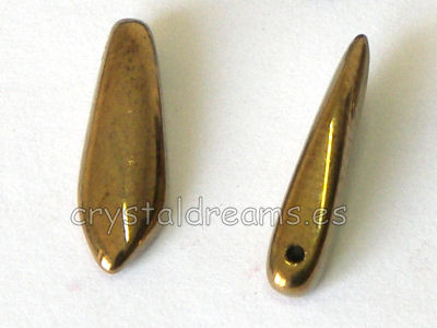 Dagas de Bohemia - 5x16mm - Agujero: 1mm - Color: Gold Bronze