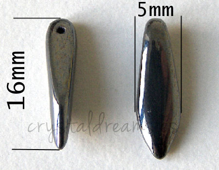 Dagas de Bohemia - 5x16mm - Agujero: 1mm - Color: Jet Hematite