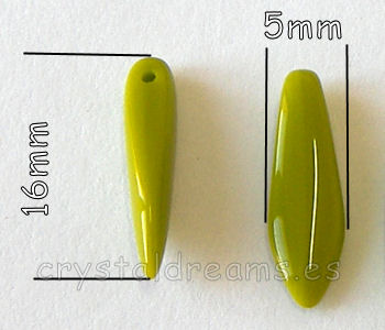 Dagas de Bohemia - 5x16mm - Agujero: 1mm - Color: Opaque Olivine
