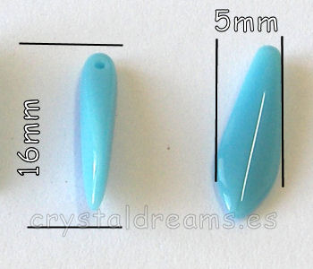 Dagas de Bohemia 5x16mm Agujero: 1mm Color Opaque Turquoise Blue