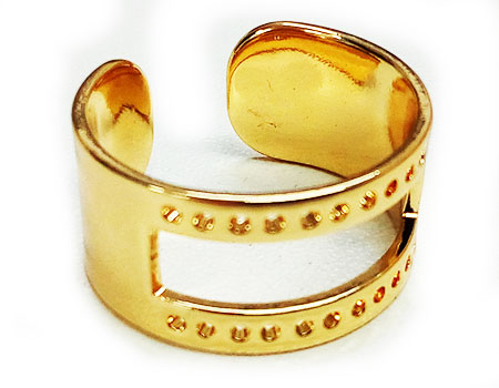 Anillo Ajustable Inoxidable 20x10mm - Ventana 20x4mm-Golden