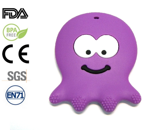 Silicone antibacterial Teether - 75mm Octupus PURPLE