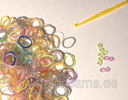 Pack de gomitas TRANSPARENT FLUOR MIX - Con Ganchillo y Clips