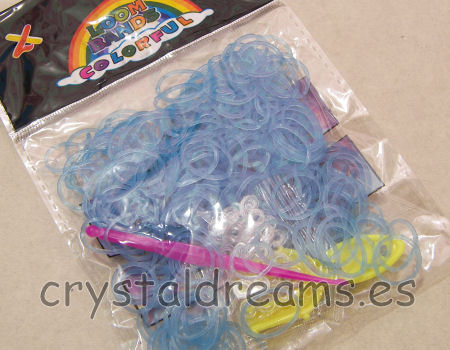 Pack de gomitas LIGHT BLUE FLUO - Con Ganchos y Clips