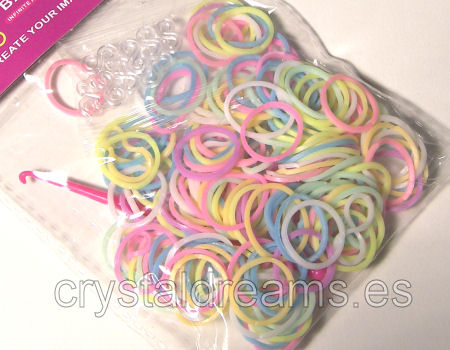 Pack de gomitas MULTICOLOR FLUO MIX - Con Ganchillo y Clips