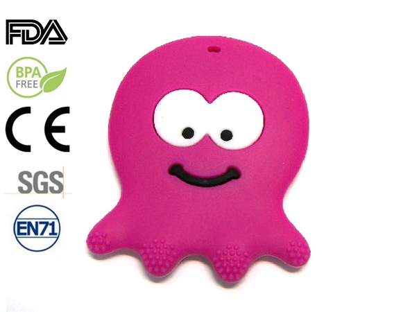 Silicone antibacterial Teether - 75mm Octupus FUCHSIA