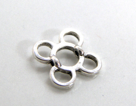 Entrepieza 4 rings 12mm - Agujero: 1mm Silver