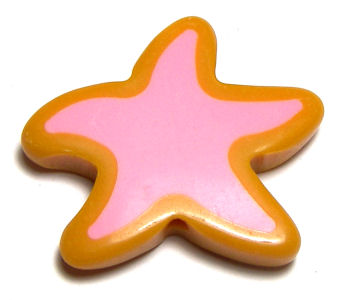 Cuentas acrilicas mod. Starfish 34x30x6mm Aguj: 2mm Yellow/Rose