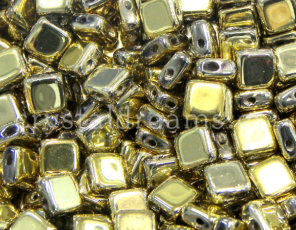 Flat Silky Beads - planas de 6x6mm - Full Brass Gold