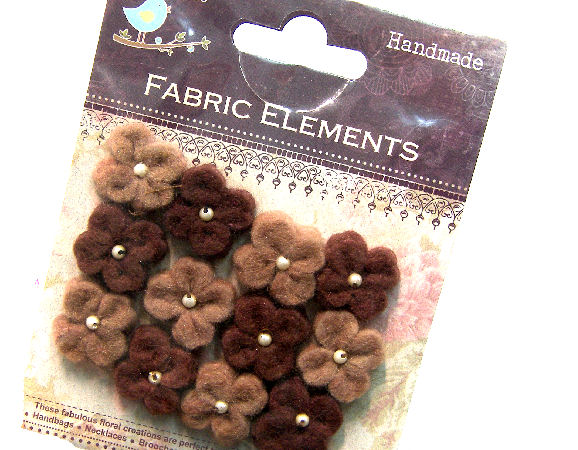 12 Flores de Fieltro de 20mm - Brown Mix