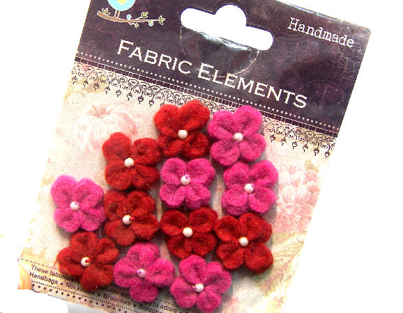 12 Flores de Fieltro de 20mm - Pink/Red