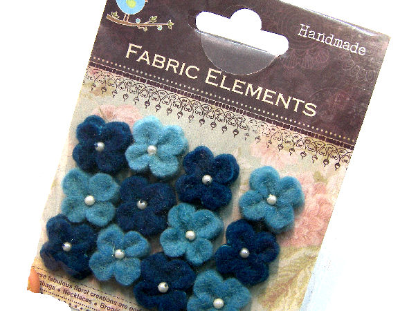 12 Flores de Fieltro de 20mm - Blue Mix