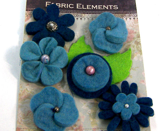 6 Flores de Fieltro de 40mm - Blue Mix