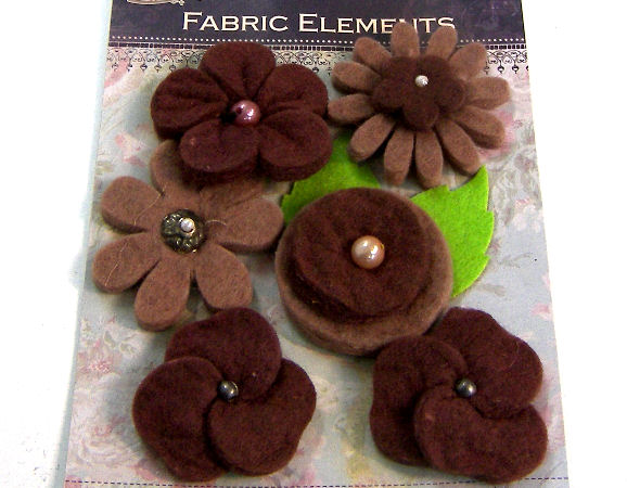 6 Flores de Fieltro de 40mm - Brown Mix