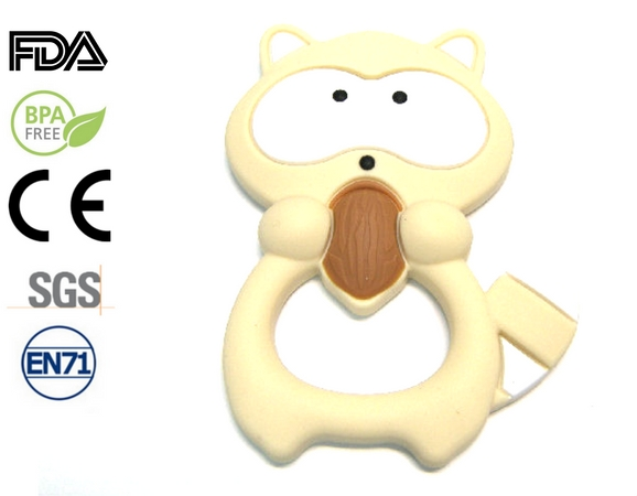 Silicone antibacterial Teether - 95mm Raccoon CREME