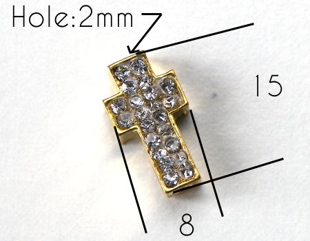 Entrepieza CRUZ Strass 15x8x4mm Agujero 2mm x 1 - GOLDEN