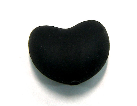 Corazon de silicona de 20x15mm Agujero: 1,7mm Black