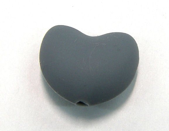 Corazon de silicona de 20x15mm Agujero: 1,7mm Grey