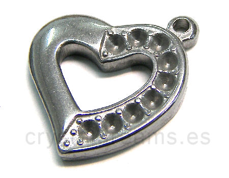 Stainless stell pendant Heart x rhinestone 23x20x3mm Hole:1,5mm