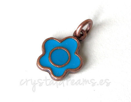 Metal pendant Hole:2mm Flower 14x10mm - Cobre
