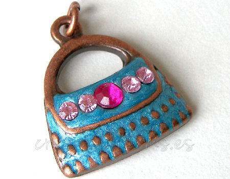 Metal pendant Hole:2mm Blue handbag 20x19mm - Cobre