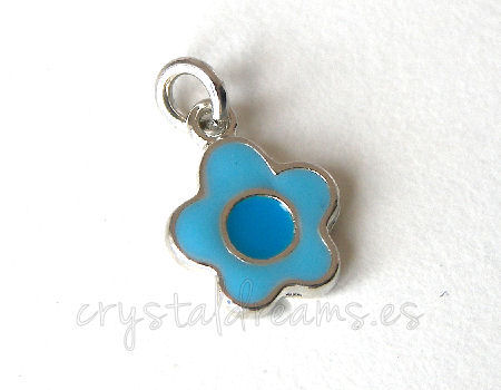 Metal pendant Hole:2mm Flower 14x10mm - Platinum