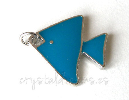 Metal pendant Hole:2mm Fish 17x18mm - Platinum