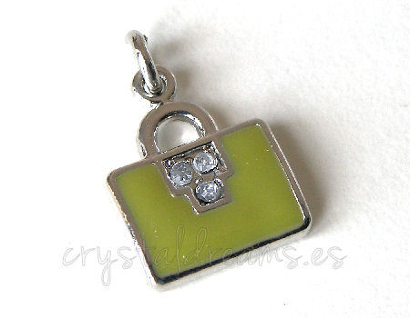 Metal pendant Hole:2mm Green Handbag 18x12mm - Platinum