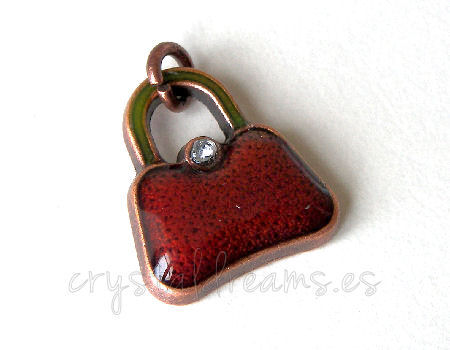 Metal pendant Hole:2mm Brown Handbag 16x14mm- Cobre