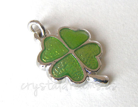 Metal pendant Agujero:2mm Four Leafs 20x15mm - Platinum