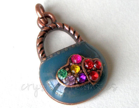 Metal pendant Hole:2mm Handbag 21x14mm - Cobre