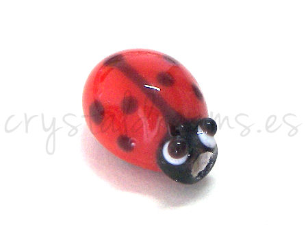 Mariquita de vidrio - Hole: 2mm 10x8mm Color: Red